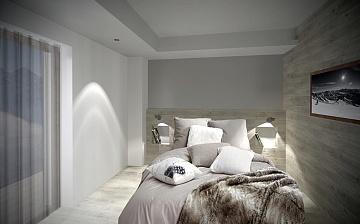 Ferienwohnung Chalet Nuance in Alpe d'Huez 1450 · Schlafzimmer mit französischem Doppelbett