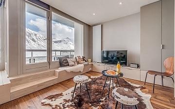 Winterurlaub Tignes -  Ferienwohnung Ferienwohnung Pyenu Rives Du Lac - Wohnzimmer