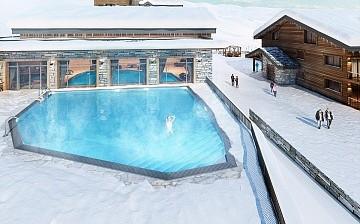 Ferienwohnungen La Plagne: Residenz White Pearl, Aussenpool (Skizze)