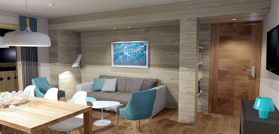 Essplatz / Wohnzimmer in einer Ferienwohnung der Residenz Les Chalets du Jardin Alpin in Val d'Isere