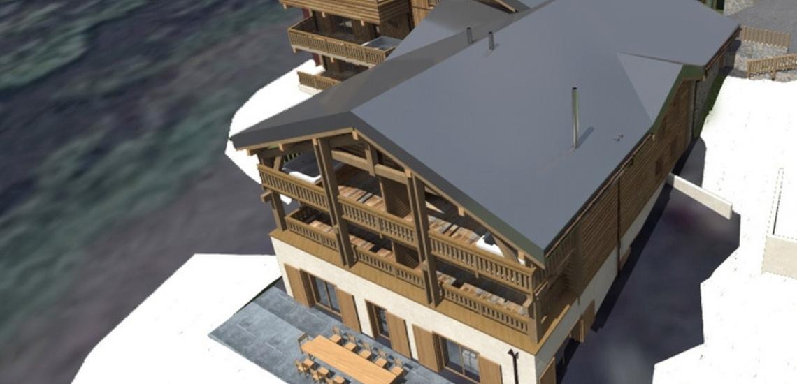 Unterkünfte · Ferienwohnung Chalet Nuance in Alpe d'Huez 1450 · Aussenansicht (Skizze)