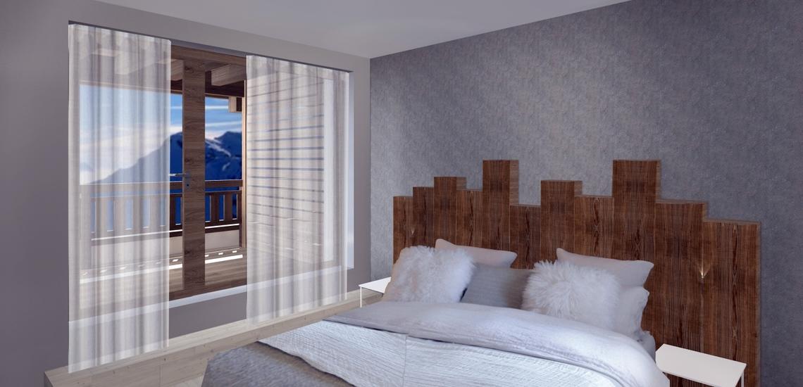 Unterkünfte · Ferienwohnung Chalet Nuance in Alpe d'Huez 1450 · Schlafzimmer mit Doppelbett