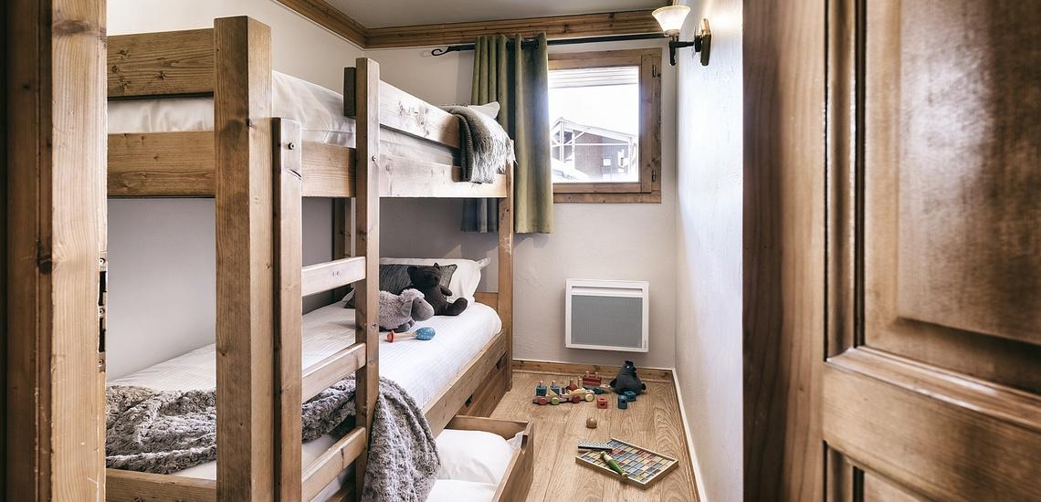 Les Montagnettes Soleil 1, Val Thorens, Trois Vallees.  Schlafzimmer mit Etagenbett