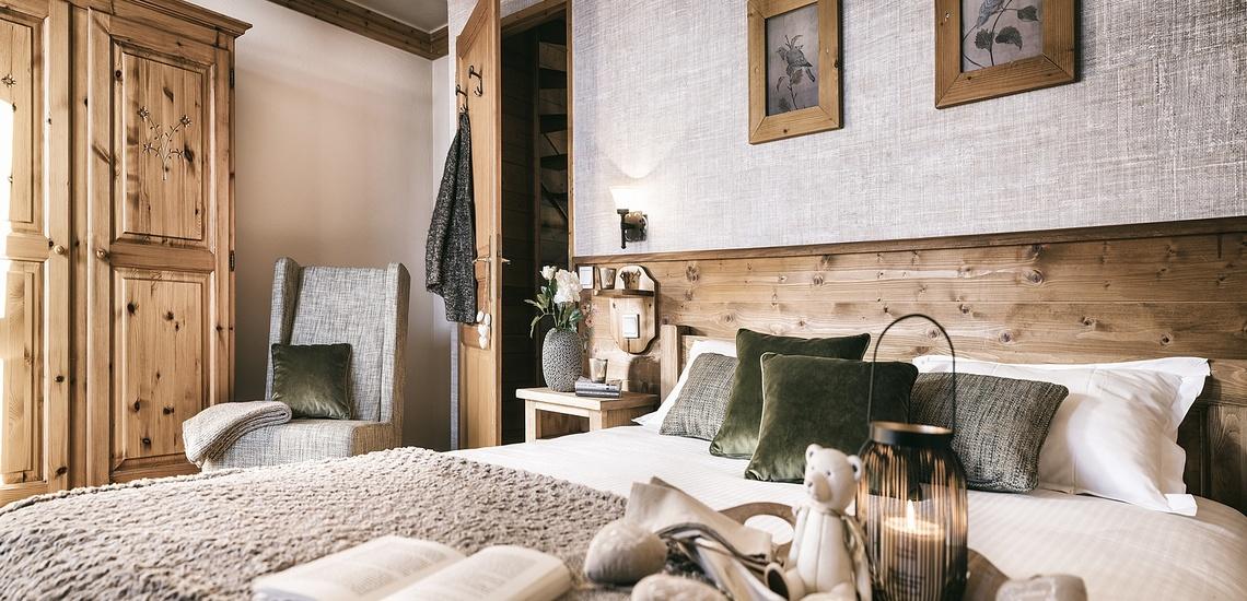 Les Montagnettes Soleil 1, Val Thorens, Trois Vallees.  Schlafzimmer mit franz. Doppelbett