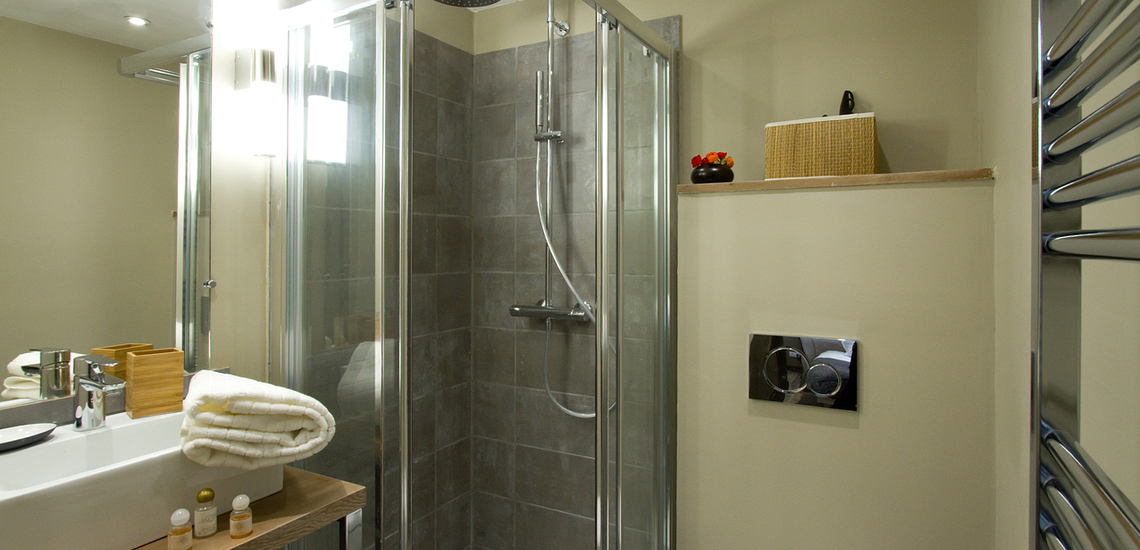 Chalet Le Cabri in Val d'Isere. Dusche
