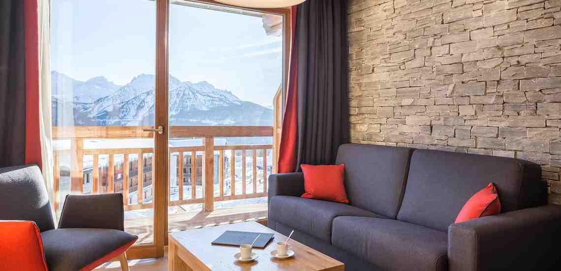 Aussicht einer Ferienwohnung im Alparena Hotel & Spa, Unterkünfte in La Rosiere, Skigebiet Espace San Bernardo, Skireisen/Skiurlaub in Frankreich, französische Alpen.