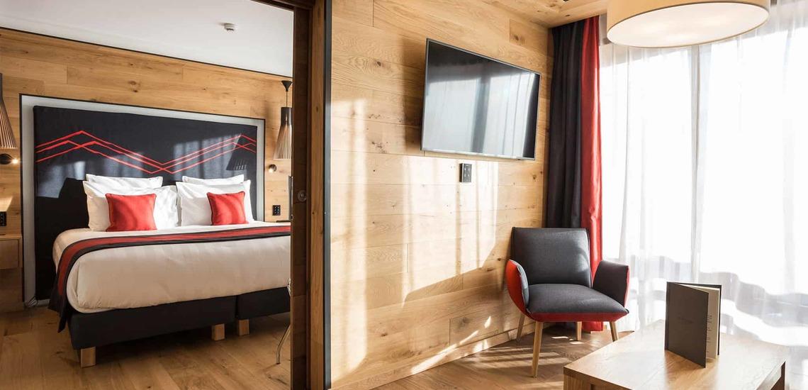 Eine Ferienwohnung im Alparena Hotel & Spa, Unterkünfte in La Rosiere, Skigebiet Espace San Bernardo, Skireisen/Skiurlaub in Frankreich, französische Alpen.