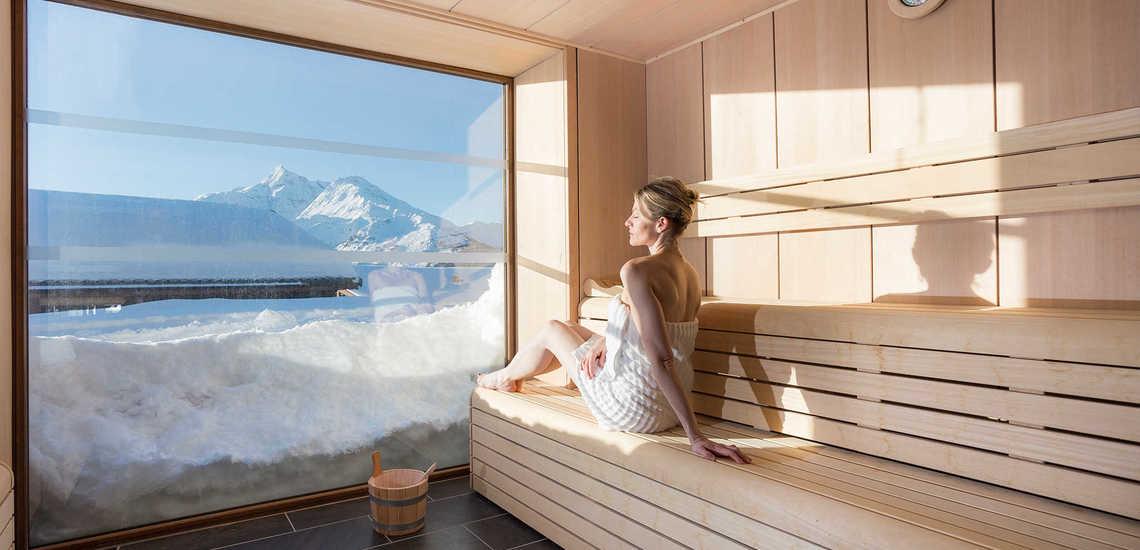 Eine Sauna im Alparena Hotel & Spa, Unterkünfte in La Rosiere, Skigebiet Espace San Bernardo, Skireisen/Skiurlaub in Frankreich, französische Alpen.