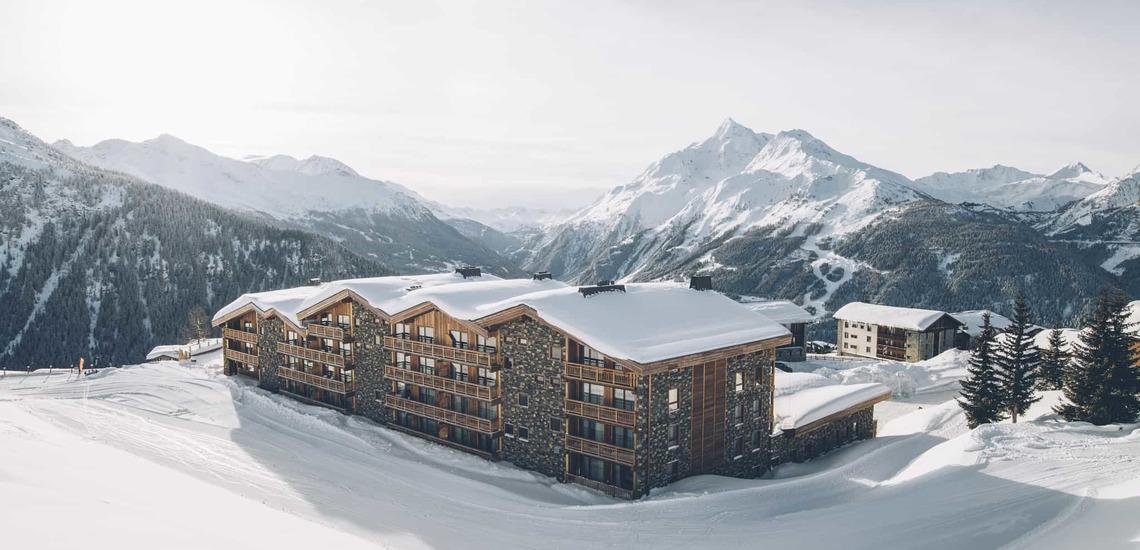 Aussenansicht des Alparena Hotel & Spa, Unterkünfte in La Rosiere, Skigebiet Espace San Bernardo, Skireisen/Skiurlaub in Frankreich, französische Alpen.