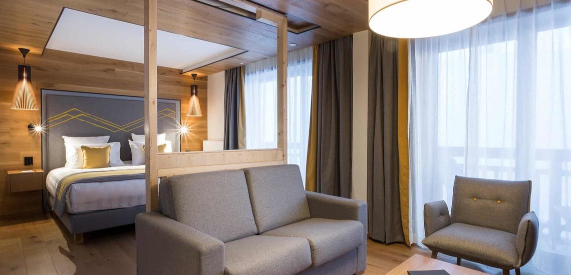 Eine Suite im Alparena Hotel & Spa, Unterkünfte in La Rosiere, Skigebiet Espace San Bernardo, Skireisen/Skiurlaub in Frankreich, französische Alpen.