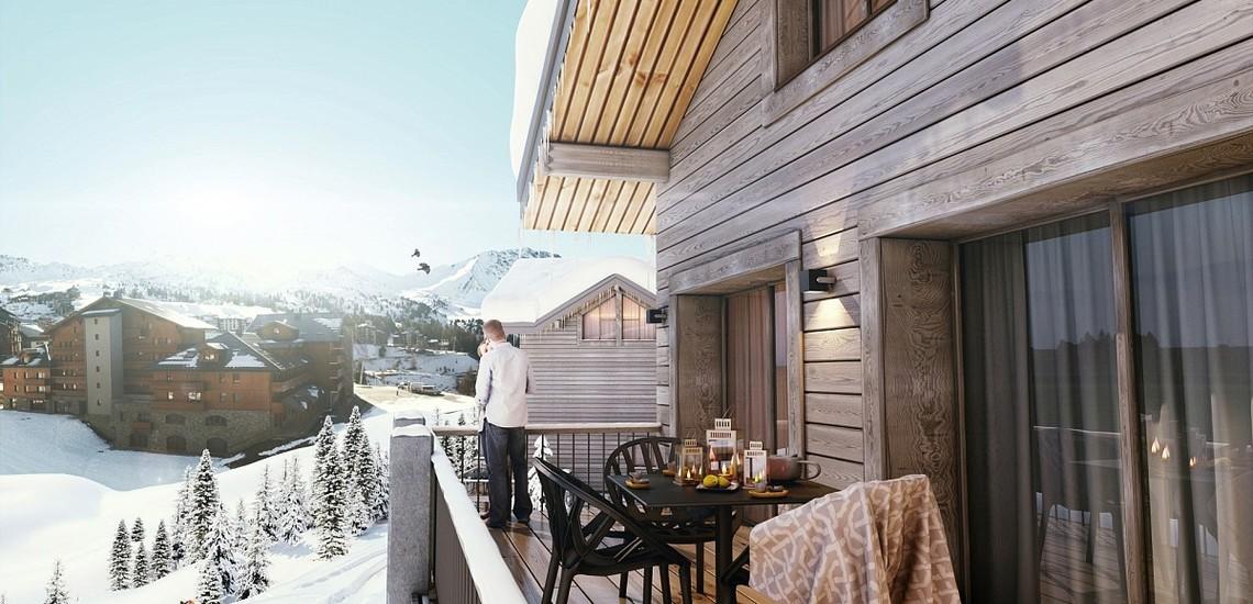 Ferienwohnungen La Plagne: Residenz White Pearl, Balkon