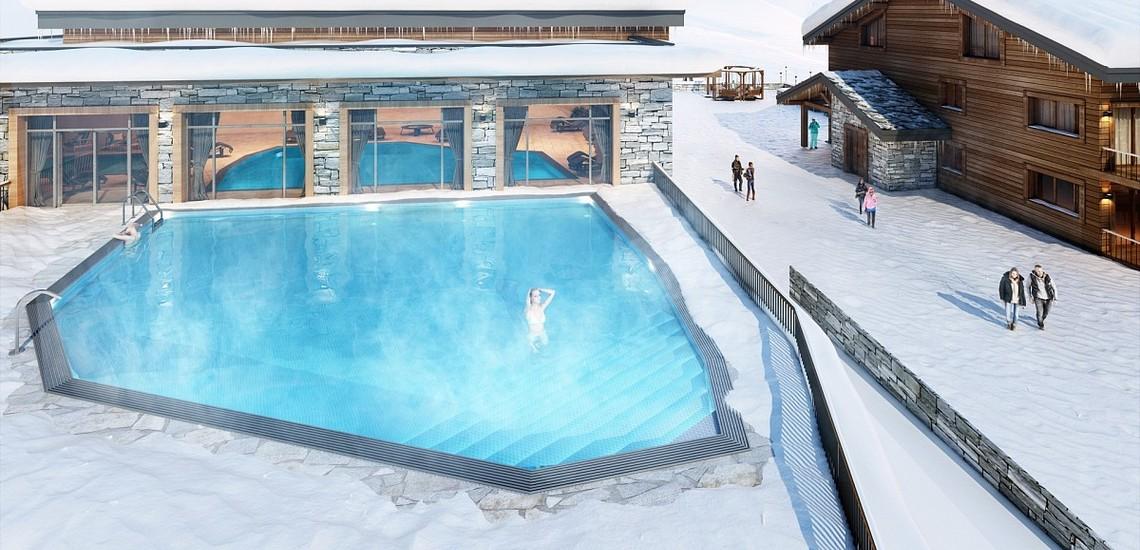 Ferienwohnungen La Plagne: Residenz White Pearl, Aussenpool