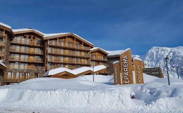 Ferienwohnungen Alparena Hotel & Spa, direkt in La Rosiere, Skigebiet Espace San Bernardo. Skiurlaub in Frankreich. Skifahren in den französischen Alpen.