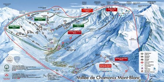 Pistenplan Chamonix Mont Blanc: Skigebietsbeschreibung, Ferienwohnungen, Ferienhäuser, Chalets, Hotels in Chamonix, Frankreich, Französische Alpen.