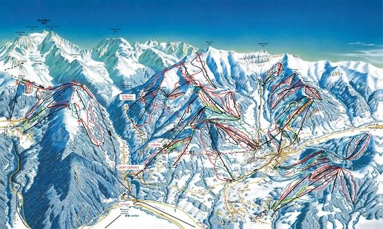 Pistenplan Domaine Evasion · Megeve / Saint Gervais / Combloux · Skigebiet · Pistenplan - slope map · Skigebiets-Beschreibung · Ferienwohnungen · Skireisen / Skiurlaub in Frankreich · Komfort - Unterkünfte in den französischen Alpen.