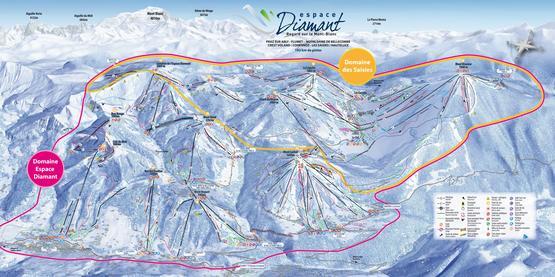 Espace Diamant · Les Saisies - Flumet - Val d'Arly - Praz sur Arly · Skigebiet · Pistenplan - slope map · Skigebiets-Beschreibung · Ferienwohnungen · Skireisen / Skiurlaub in Frankreich · Komfort - Unterkünfte in den französischen Alpen.