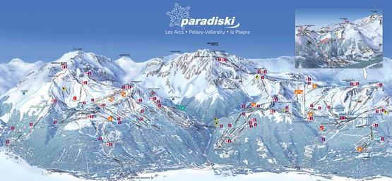 Paradiski Les Arcs, Pistenplan, Ferienwohnungen, Chalets, Hotels - Skireisen & Skiurlaub in Frankreich, französische Alpen.