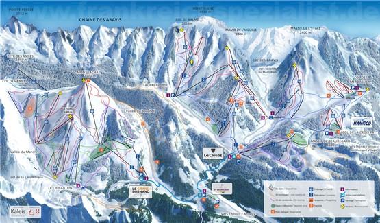Massif des Aravis Pistenplan. Skireisen, Skiurlaub u Ferienwohnungen in La Clusaz, Le Grand Bornand, Chinaillon