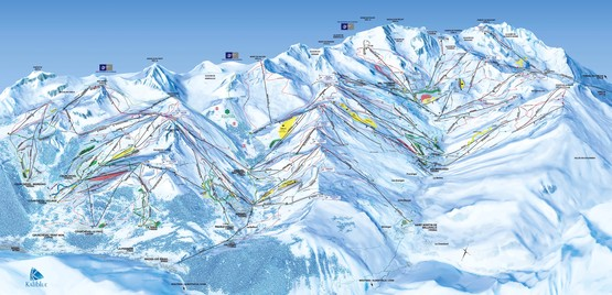 Pistenplan Les 3 Vallees / Trois Vallees - slope map - download