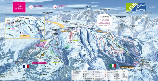 Pistenplan Espace San Bernardo - La Rosiere · Skigebiet · Pistenplan - slope map · Skigebiets-Beschreibung · Ferienwohnungen · Skireisen / Skiurlaub in Frankreich · Komfort - Unterkünfte in den französischen Alpen.