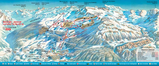 Pistenplan Sainte Foy Tarentaise: Unterkünfte / Ferienwohnungen, Chalets, Ferienhäuser, Hotels. Skireisen & Skiurlaub in Sainte-Foy, Frankreich, Französische Alpen.