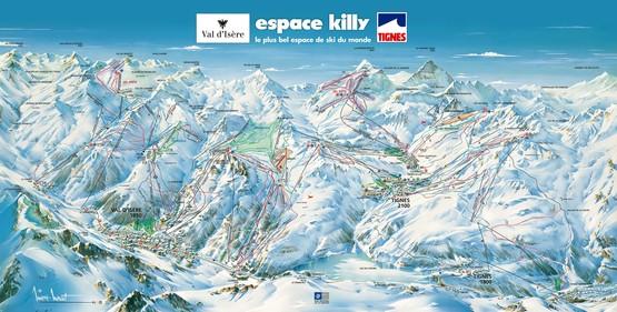 Tignes  Val d'Isere · Skigebiet L'Espace Killy (Tignes & Val d'Isere) · Pistenplan - slope map · Skigebiets-Beschreibung · Ferienwohnungen · Skipass · Skireisen / Skiurlaub in Frankreich · Komfort - Unterkünfte in den französischen Alpen.