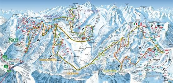 Pistenplan Montgenèvre - Monts de la Lune / Via Lattea · Skigebiet · Pistenplan / slope map download · Skigebiets-Beschreibung · Skiurlaub in Frankreich · Ferienwohnungen in den französischen Alpen | LAVINA-tours - Der Frankreichspezialist