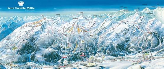 Pistenplan Serre Chevalier: Skiurlaub & Skireisen, Unterkünfte: Ferienwohnungen, Chalets, Ferienhäuser, Hotels in Frankreich, französische Alpen.