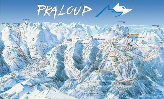 Pistenplan Pra Loup: Skireisen, Skiurlaub, Unterkünfte in Pra Loup La Foux d'Allos. Ferienwohnungen, Chalets, Ferienhäuser, Hotels. Frankreich, französische Alpen.