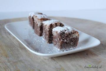 Heerlijke koolhydraatarme chocolade kokos cake gemaakt van amandelmeel, cacaopoeder en kokos!
