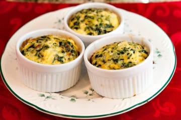 3 porties spinazie quiche met kaas zonder korst