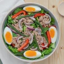Salade niçoise met ei, tonijn, rode ui en paprika.