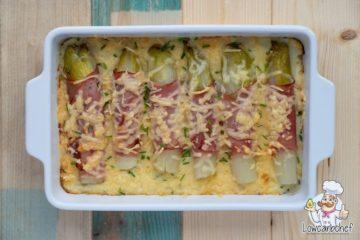 Witlofschotel met ham en gesmolten kaas.