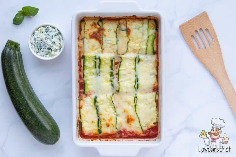 Courgette ravioli met spinazie en ricotta.