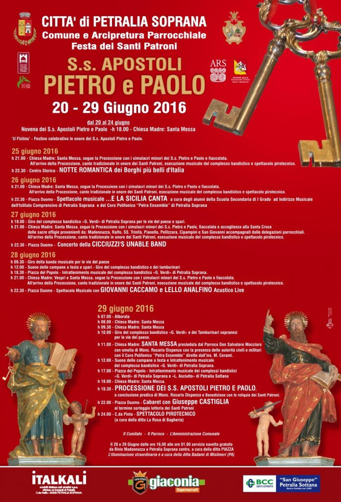 Manifesto  San Pietro e Paolo 2016