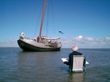 Zeilen en schilderen op de Waddenzee