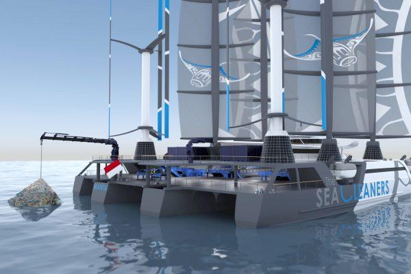 Vue d'artiste du Manta, le futur bateau dépollueur de l'association The SeaCleaners. DR.