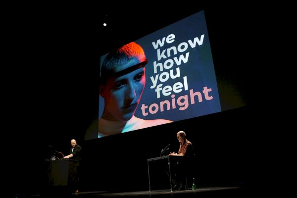 We Are Not Sick (John Longwalker & Geert Lovink) during 'Sad by Design'. Adam Berry, CC NC-SA 4.0.