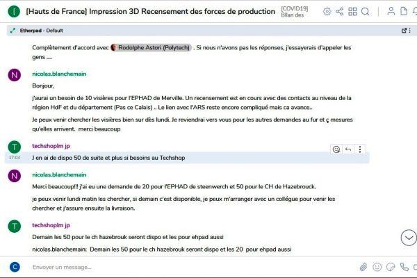 Extraits de conversations salon RIOT «Hauts-de-France Impression 3D Recensement des forces de production».