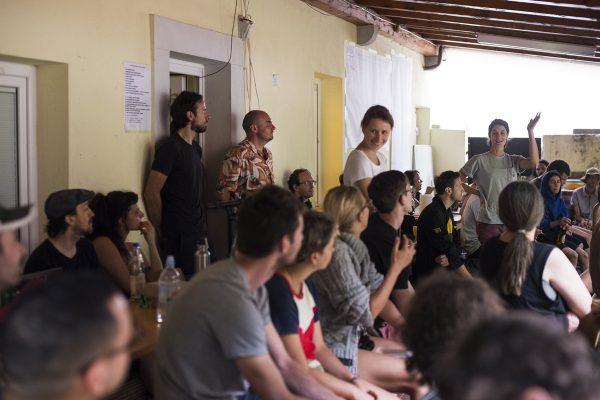 Tina Dolinšek introducing PIFcamp principles to its 2018 participants © Katja Goljat