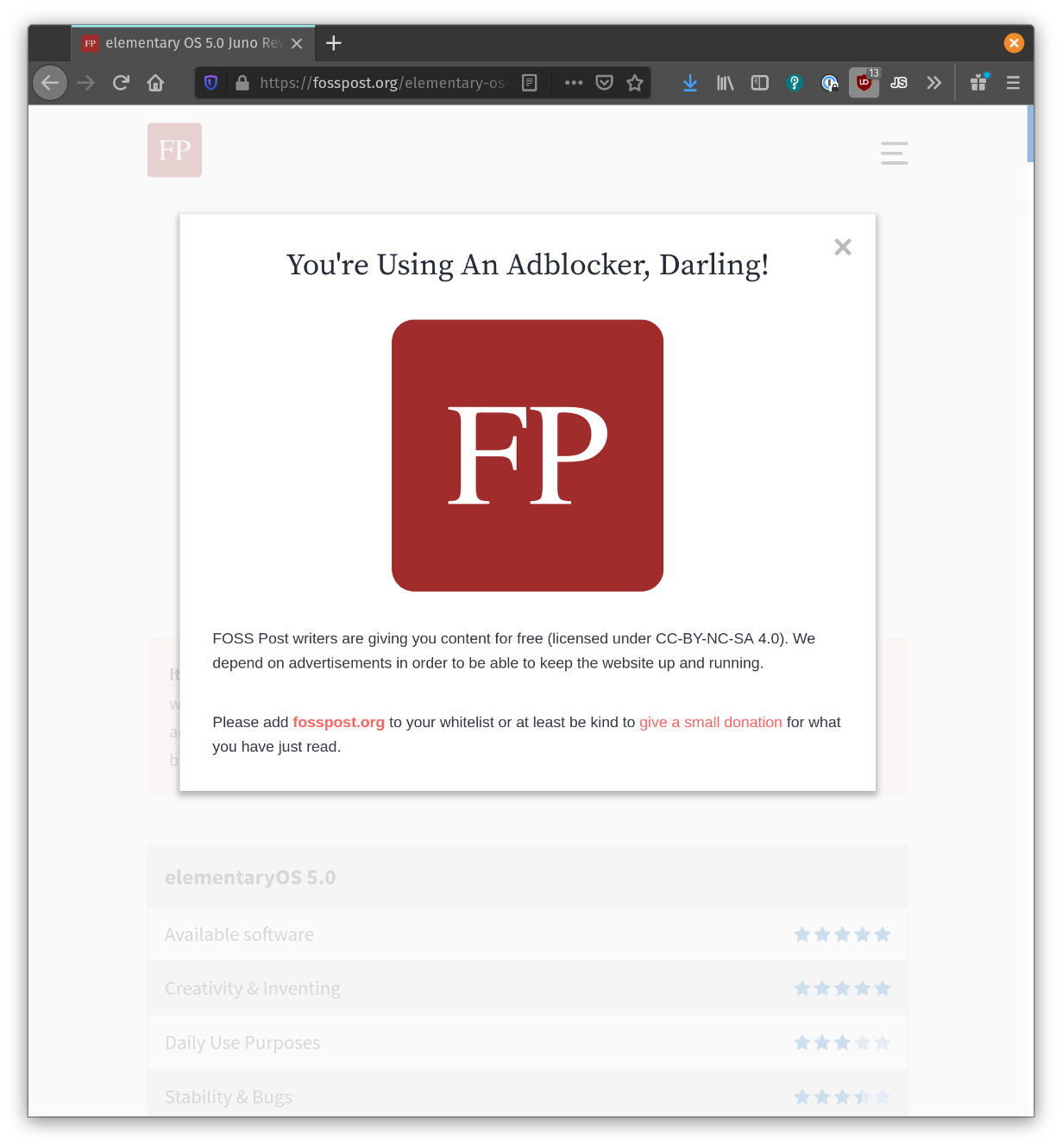 """FOSS Post web site: """"<br />You're Using An Adblocker, Darling!<br /><br />Free and open source software<br /><br />FOSS Post writers are giving you content for free (licensed under CC-BY-NC-SA 4.0). We depend on advertisements in order to be able to keep the website up and running.<br /><br />Please add fosspost.org to your whitelist or at least be kind to give a small donation for what you have just read."""""""