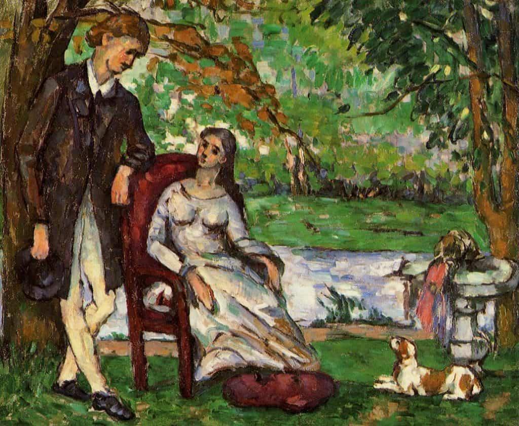 Paul Cezanne - Couple in a garden (1873)