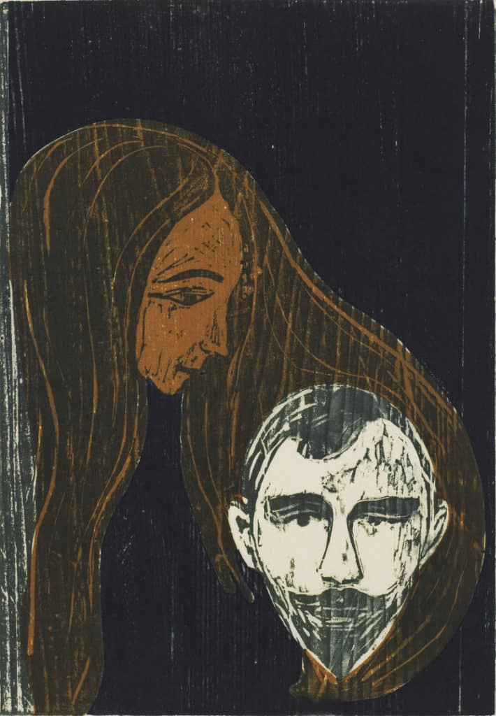 Edward Munch - Man's Head in Woman's Hair (1896)