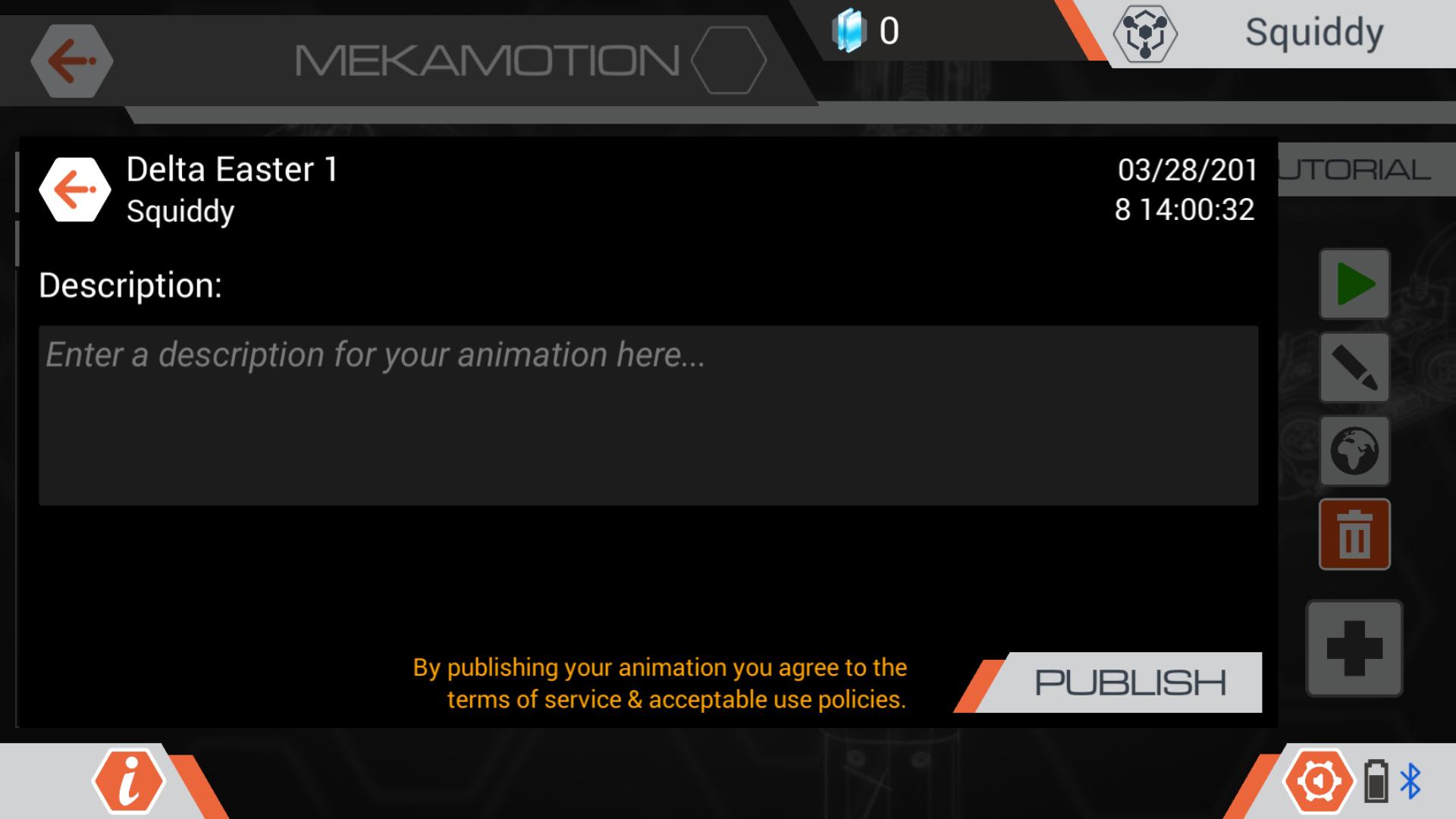 MekaMotion publish animation