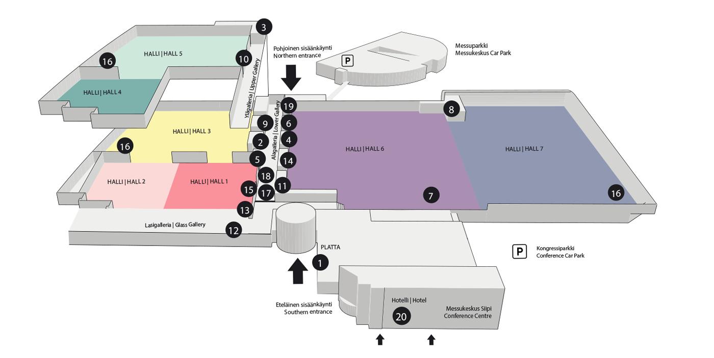 Kartta Messukeskuksen ravintoloista