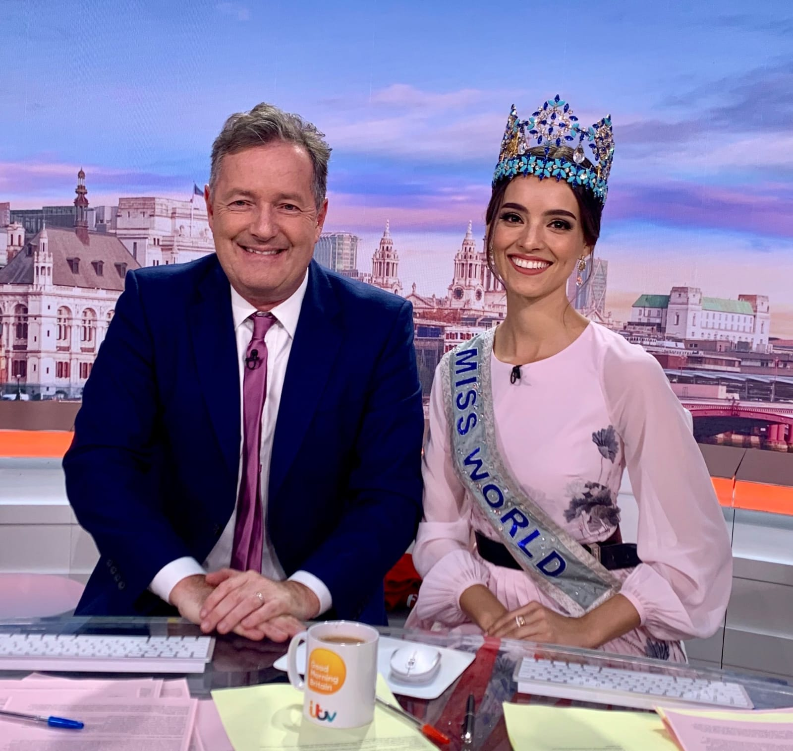 Piers Morgan and Miss World 2018, Vanessa Ponce de León on GMB set