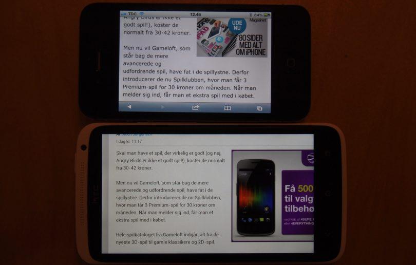 HTC One X versus iPhone 4S – skærm fight