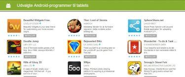 Google Play optimeres til Android-tablet