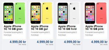 Første danske pris på iPhone 5c