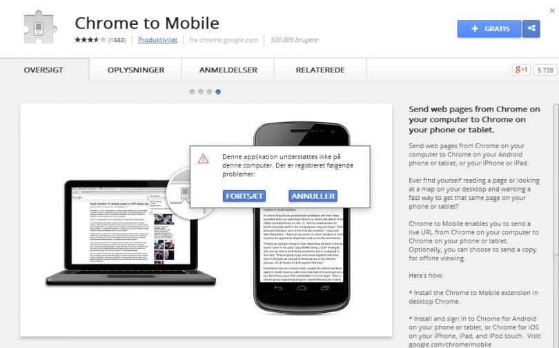 Guide: Sådan sender du en webside fra Google Chrome til din Android mobil eller tablet